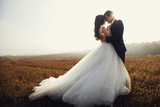 Fototapety Romantic fairytale newlywed couple hug & kiss in field at sunset