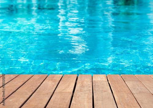 Poster plage de piscine bleue
