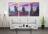 Fototapety Art canvas in three parts. Landscape theme. Sofa, lamp, plant and table in room interior.
