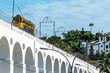 Quadro Yellow Train under the Lapa district in Rio de Janeiro, Brazil