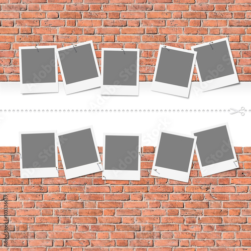 Seamless header and footer of old brick wall with templates, grunge - nahtloses Muster einer Ziegelmauer mit Platzhaltern. Suitable for Fotolia images #103143054,  #103258211,  #103259151,  #103259468 © mahey