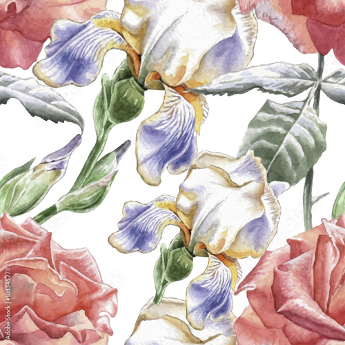 Seamless pattern with watercolor flowers. - 103345278