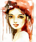 Abstract watercolor illustration depicting a portrait of a woman.