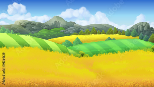 Aluminium Boerderij Farm landscape vector background