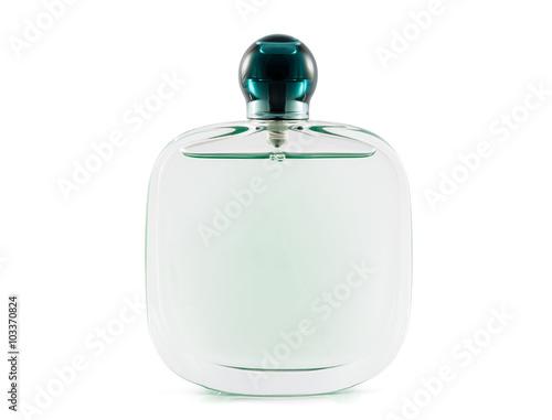 Poster Volle Flasche Parfüm auf weißem Hintergrund