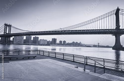 Manhattan Bridge Over East River in New York City