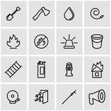 Vector line firefighter icon set