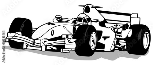 Foto op Canvas F1 Formula One - Driver And Racing Car Illustration, Vector