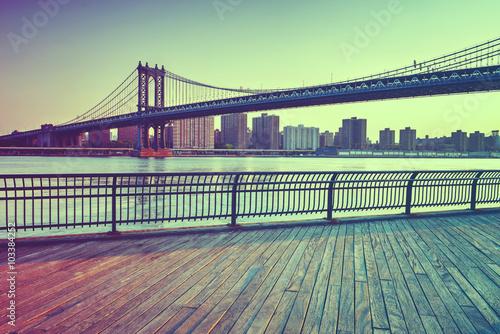 Poster Manhattan Suspension Bridge Across East River