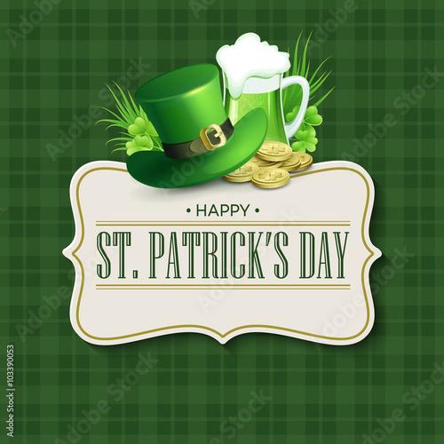 Fotobehang Vintage Poster St. Patricks Day vintage holiday badge design. Vector illustration