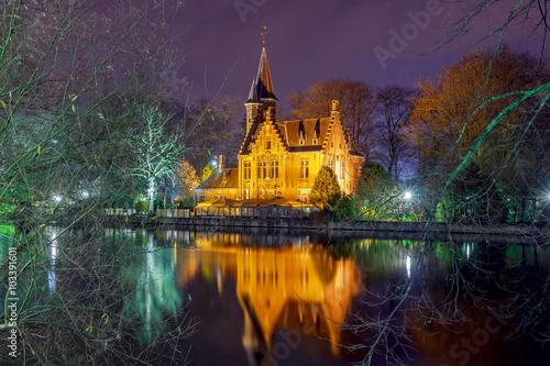 Fotobehang Brugge Bruges. Park Minnewater.