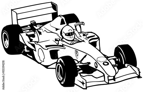 Naklejka Formula One - Driver And Racing Car Illustration, Vector
