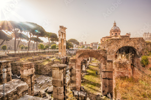 Poster Famous Roman ruins in Rome, Italy