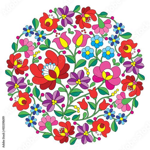Fototapeta Kalocsai folk art embroidery - Hungarian round floral folk pattern