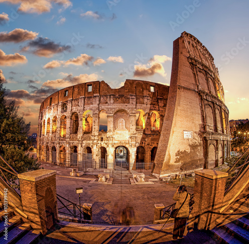 Poster Colosseum in the evening, Rome, Italy