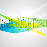 Science template,  banner with a DNA molecules.