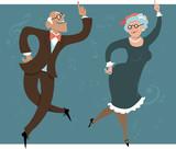 Fototapety Senior couple dancing swing or Big Apple, vector illustration, EPS 8