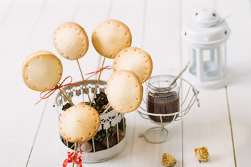 Homemade pie pops with jam on the white vintage  table...