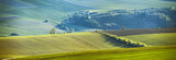 Spring in Slovakia. April sunny hills. Countryside panorama