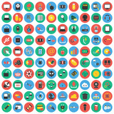 Fototapety Computer, technology, pc 100 flat icons set for web