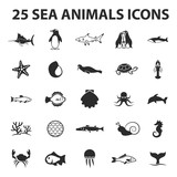 Sea, animal, fish 25 black simple icons. New collection of 25 modern fish , shark, whale icons