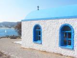Niebieski kościół Świątynia na wyspie Kastri w Grecji