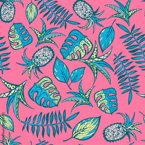 Fototapeta Cartoon tropical pattern