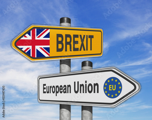 Poster Road signs EU and BREXIT