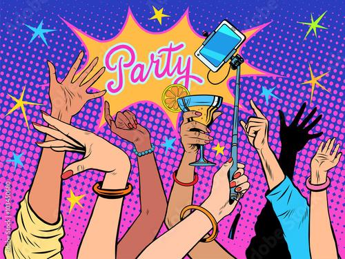 Naklejka Party dancing selfie drinks