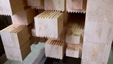 View of laminated veneer lumber stacked