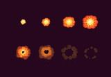 Fototapety Sprite sheet for cartoon fire explosion, mobile, flash game effect animation. 8 frames on dark background.