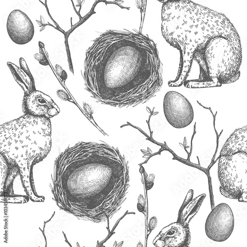 Materiał do szycia Seamless vintage pattern with ink hand drawn Easter illustrations. Vector background with hare sketch.