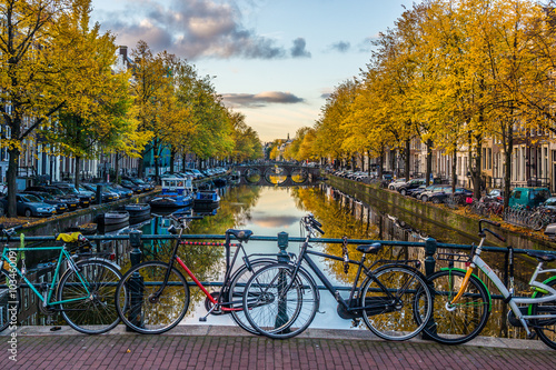Poster, Tablou Amsterdam im Herbst