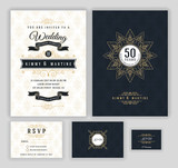 Fototapety Wedding anniversary celebration party invitation design template. Luxury frame elements and background. Vector illustration