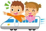 新幹線に乗る子供