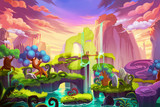 Fototapety Creative Illustration and Innovative Art: Waterfall Island. Realistic Fantastic Cartoon Style Artwork Scene, Wallpaper, Story Background, Card Design