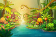 Leinwanddruck Bild - Creative Illustration and Innovative Art: Fairy River Scene Design. Realistic Fantastic Cartoon Style Artwork Scene, Wallpaper, Story Background, Card Design