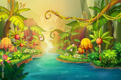 Leinwanddruck Bild Creative Illustration and Innovative Art: Fairy River Scene Design. Realistic Fantastic Cartoon Style Artwork Scene, Wallpaper, Story Background, Card Design