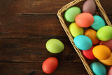 Easter eggs basket on wooden background