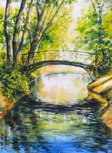Obraz na Plexi Summer landscape with bridge over river in park.Picture created with watercolors.
