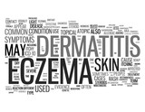 Eczema related words isolated on white background