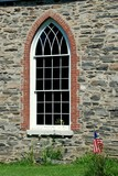 Sleepy Hollow, NY - July 9, 2009:  Elegant gothic-style nave window at the 1685 Old Dutch Church of Sleepy Hollow