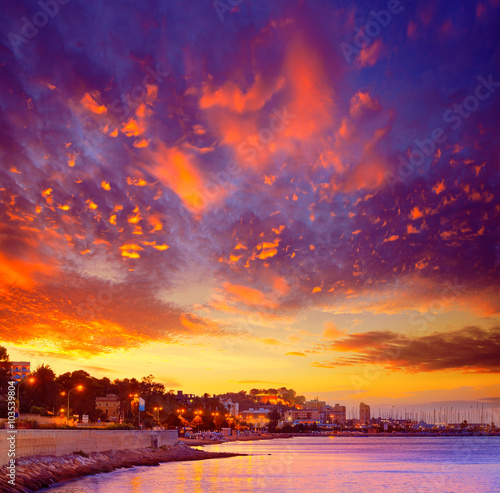 Denia sunset las Rotas in Mediterranean Spain Plakat