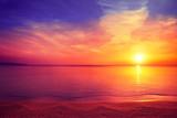 Morning on the beach. Magical sunrise over sea