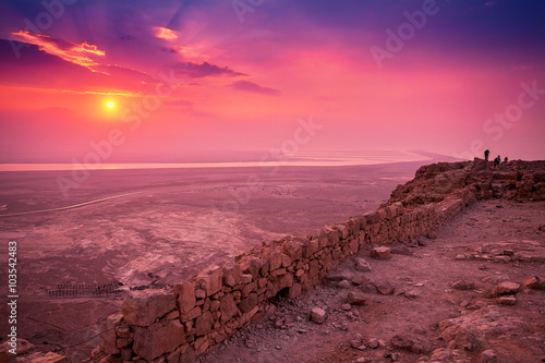 Aluminium Beautiful sunrise over Masada fortress. Ruins of King Herod's palace in Judaean Desert.