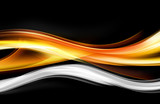 Orange White Waves Abstract Design - 103542653