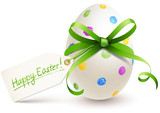 painted easter egg with bow and label - 103543419