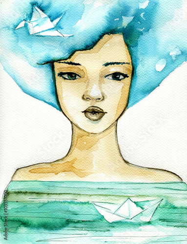 Papiers peints Inspiration painterly Abstract watercolor illustration depicting a portrait of a woman.