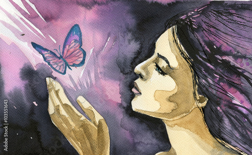 Foto op Canvas Schilderkunstige Inspiratie Abstract watercolor illustration depicting a portrait of a woman.
