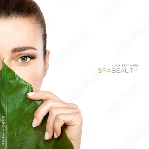 Fotobehang Spa Beauty Spa Woman with a Fresh Leaf over Face
